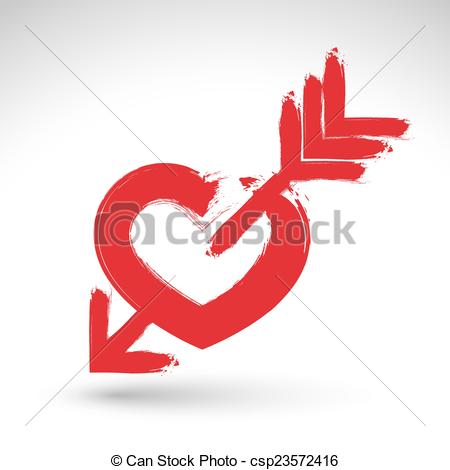 Love symbol with arrow clipart banner black and white library Vector Clip Art of Hand drawn red love heart icon, brush drawing ... banner black and white library