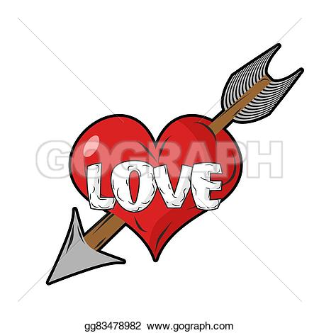 Love symbol with arrow clipart clip art black and white download Vector Clipart - Red heart and arrow of cupid. emblem for ... clip art black and white download