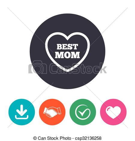 Love symbol with arrow clipart clip Clipart Vector of Best mom sign icon. Heart love symbol. Download ... clip