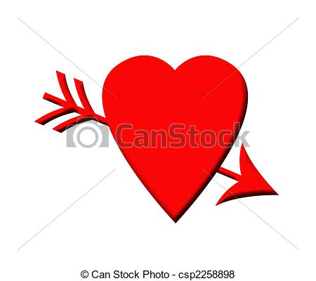 Love symbol with arrow clipart picture royalty free Stock Illustration of Cupid arrow and love heart - Red love heart ... picture royalty free