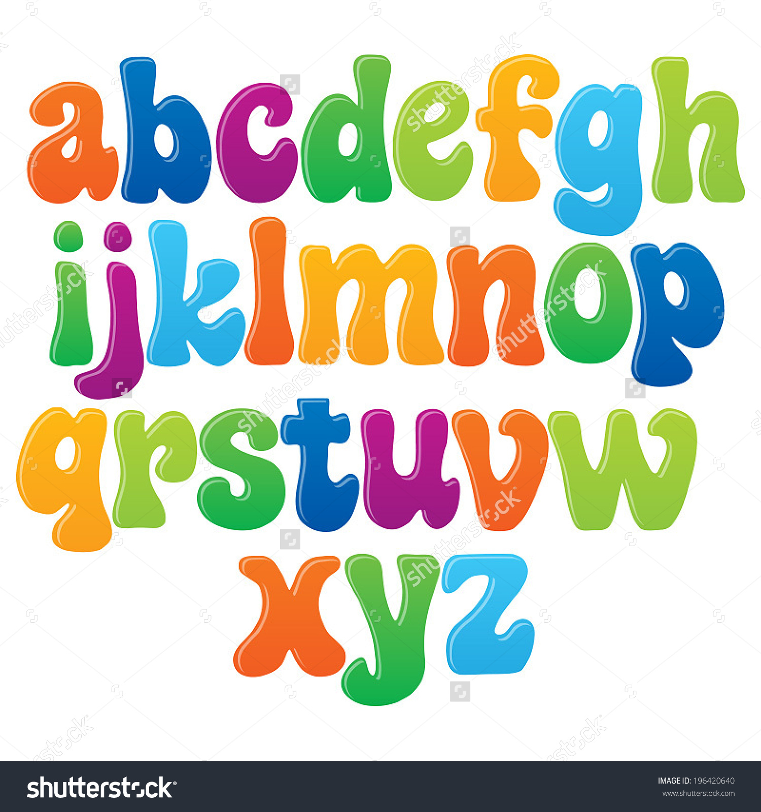 Lower case alphabet clipart jpg library download Fun Vector Font Kids 2 Lower Stock Vector 196420640 - Shutterstock jpg library download