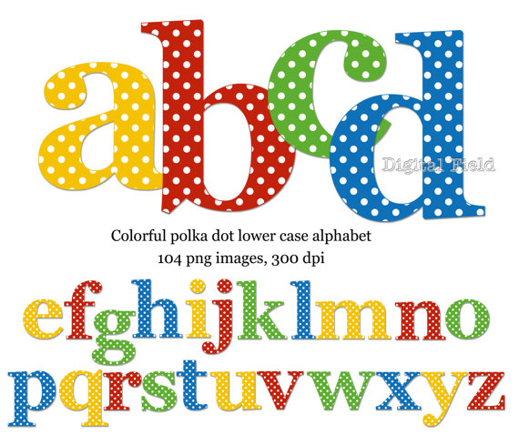 Lower case alphabet clipart vector royalty free download Polka dot lowercase alphabet clip art set yellow red blue vector royalty free download