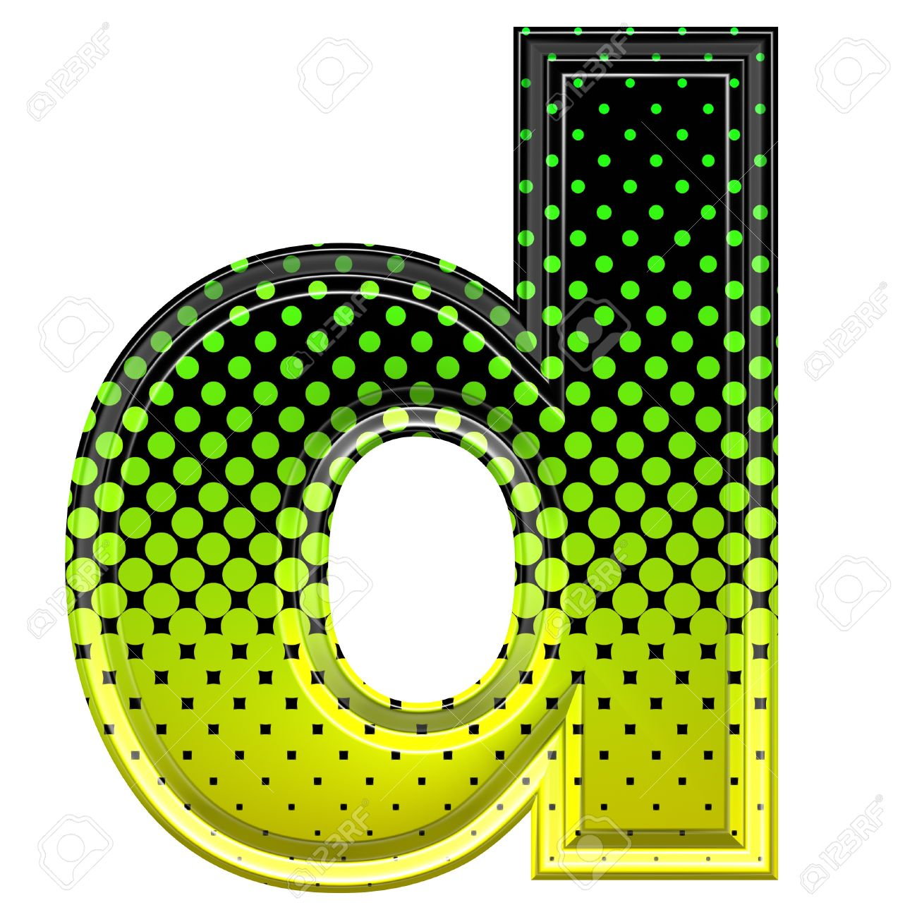 Lower case letter d clipart graphic free library Halftone 3d Lower-case Letter D Stock Photo, Picture And Royalty ... graphic free library