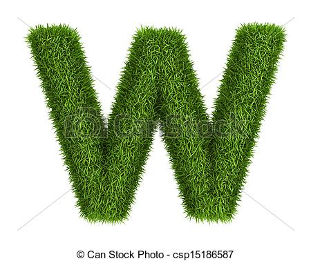 Lower case letter w clipart clipart freeuse download Stock Illustration of Natural grass letter w lowercase - Letter w ... clipart freeuse download