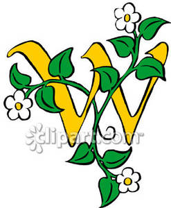 Lower case letter w clipart jpg free library Case Letter W With Flowering Vines - Royalty Free Clipart Picture jpg free library