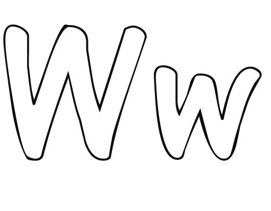 Lower case letter w clipart clipart free download Free printable letter coloring pages - upper case and lower case ... clipart free download