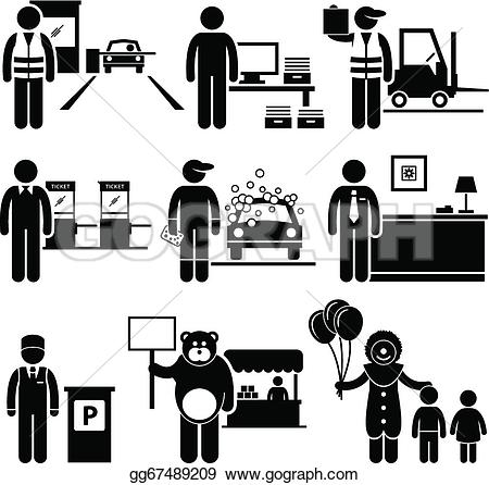 Lower class schools clipart picture free library Vector Illustration - Poor low class jobs occupations. EPS Clipart ... picture free library