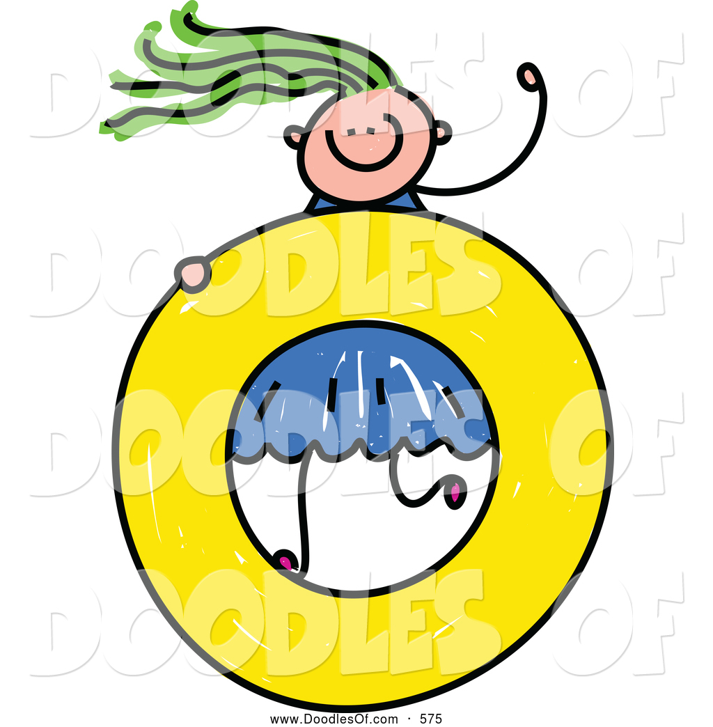 Lowercase a clipart clipart free stock Vector Clipart of a Doodled Girl on a Lowercase Letter O by Prawny ... clipart free stock