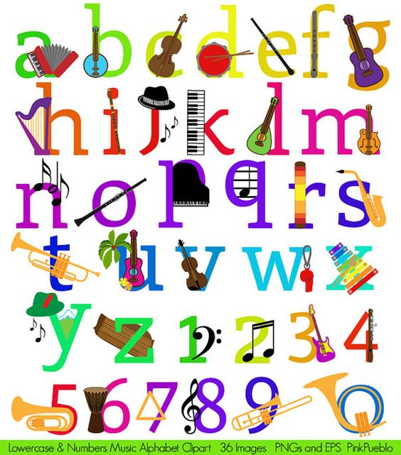 Lowercase alphabet clipart svg free stock Music Alphabet Clipart Clip Art, Musical Instruments Letters Font ... svg free stock