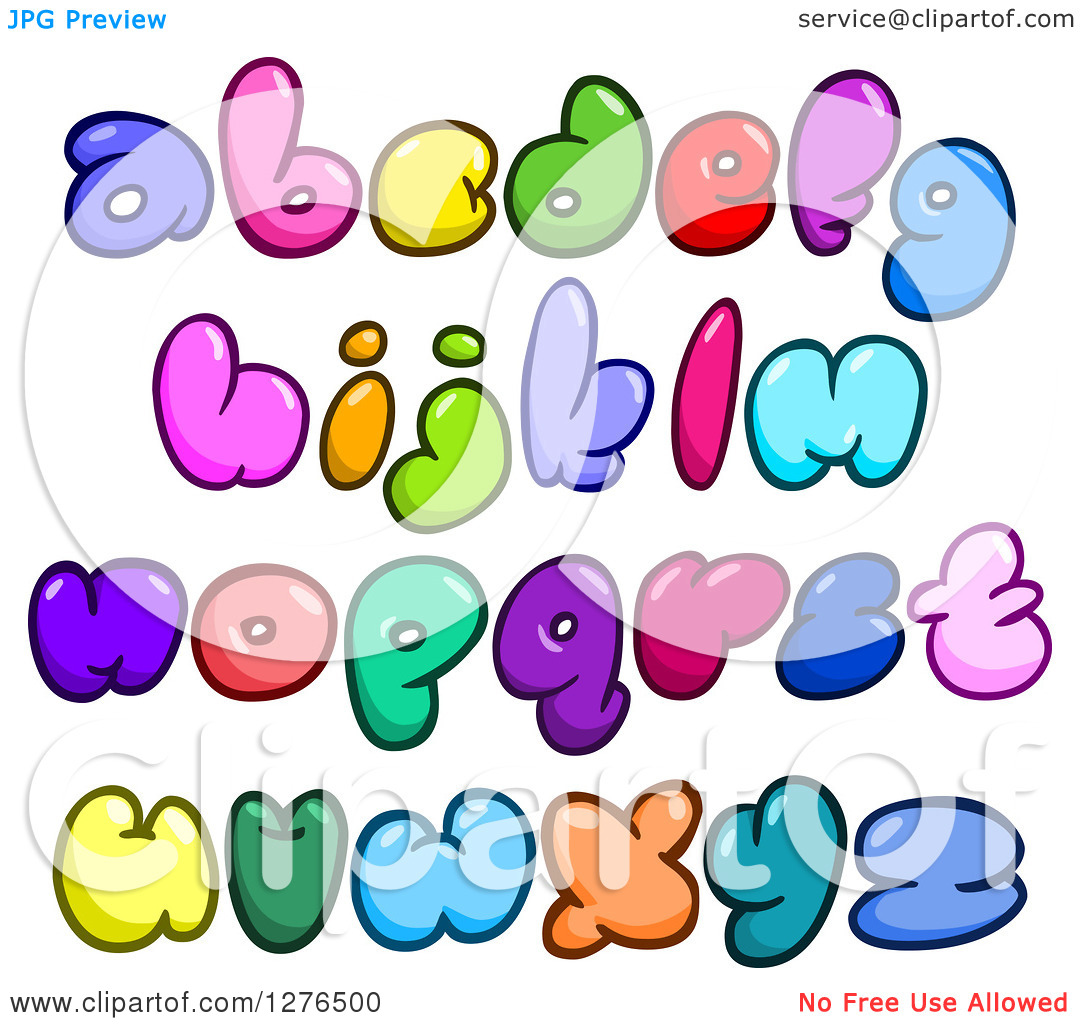Lowercase alphabet clipart clip black and white Clipart of Colorful Cartoon Comic Bubble Lowercase Alphabet ... clip black and white