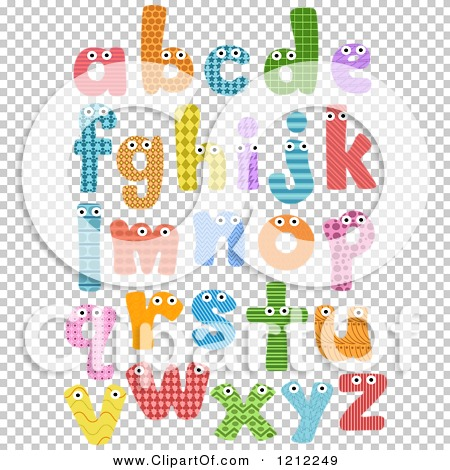 Lowercase alphabet clipart royalty free download Cartoon of Colorful Patterned Lowercase Letters with Eyes ... royalty free download