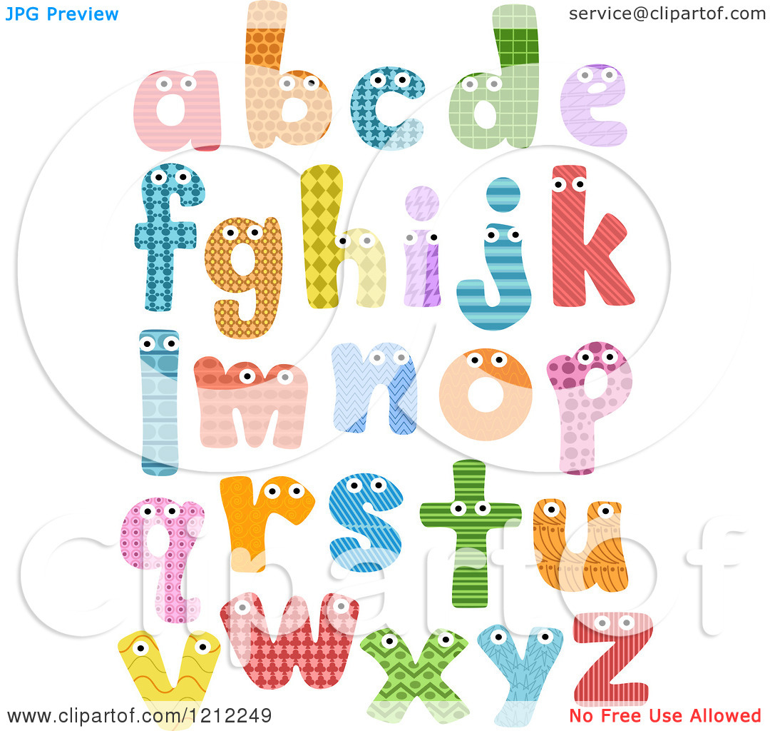 Lowercase alphabet clipart banner black and white stock Cartoon of Colorful Patterned Lowercase Letters with Eyes ... banner black and white stock