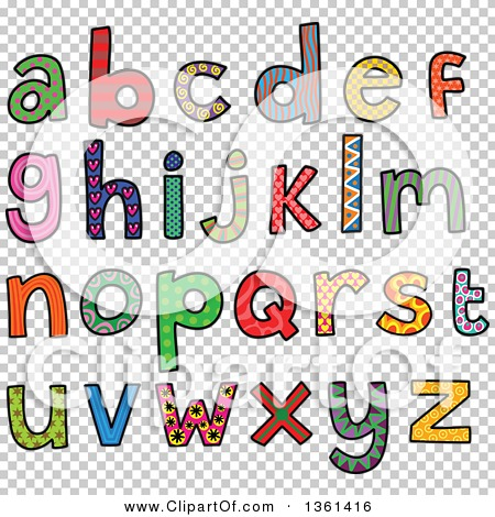 Lowercase alphabet clipart vector black and white Clipart of Colorful Sketched Lowercase Alphabet Letter Word Art ... vector black and white