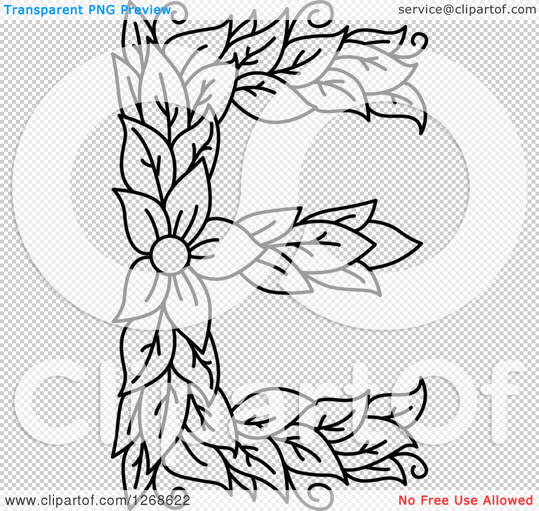 Lowercase e clipart with no background clip library download Clipart of a Black and White Floral Capital Letter E with a Flower ... clip library download