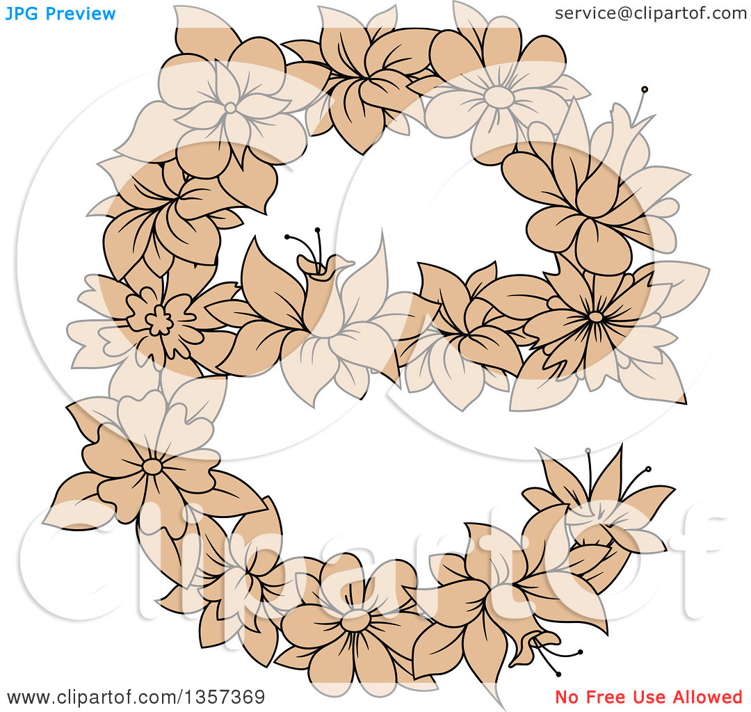Lowercase e clipart with no background graphic free Clipart of a Tan Floral Lowercase Letter E Design - Royalty Free ... graphic free