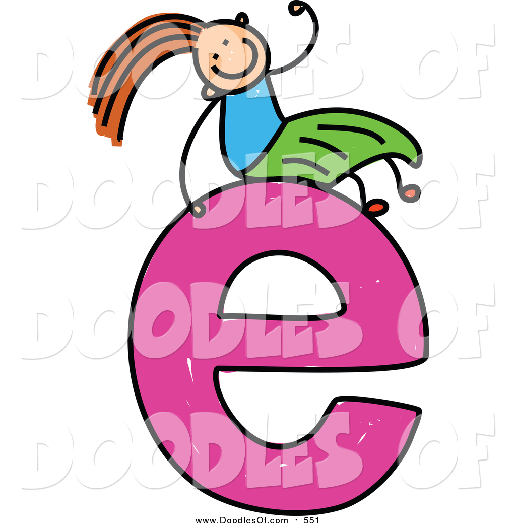Lowercase letter a clipart svg stock Vector Clipart of a Doodled Girl on a Lowercase Letter E by Prawny ... svg stock
