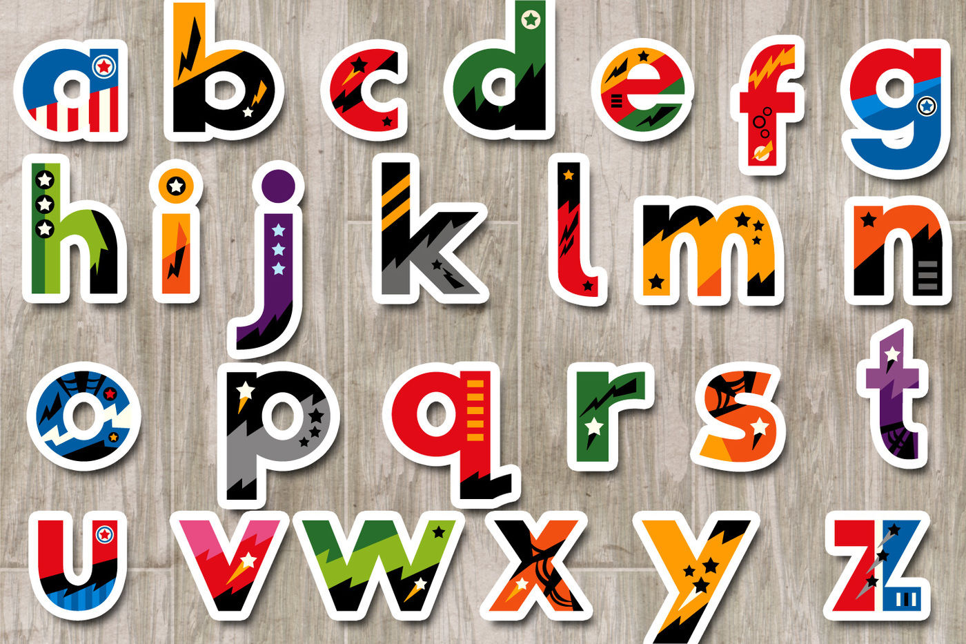 Lowercase letters clipart svg black and white library Superhero Alphabet Clipart Graphics, small caps / lowercase ... svg black and white library
