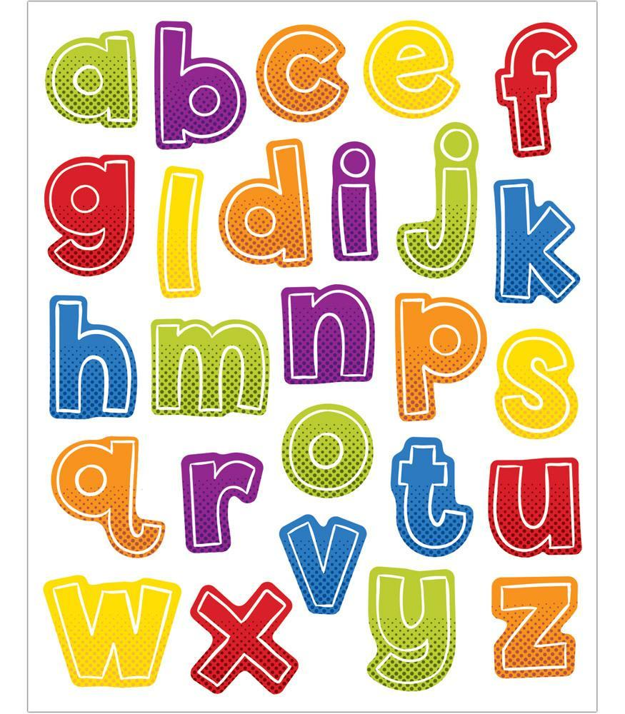 Lowercase letters clipart picture royalty free library Super Power Alphabet Lowercase Letters Shape Stickers (ID=21572) picture royalty free library