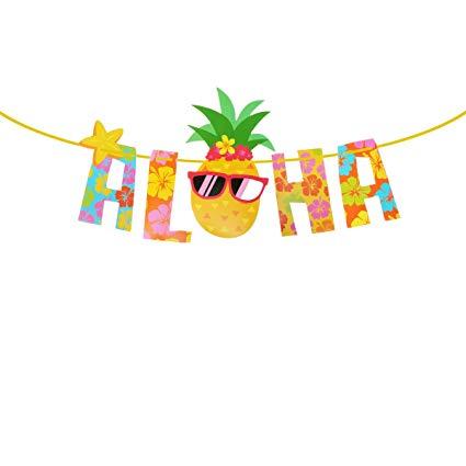 Luau banner clipart vector stock OULII Luau Party Banner Aloha Pineapple Banner Hawaiian Luau Garland Summer  Tropical Party Supplies Photography Props vector stock