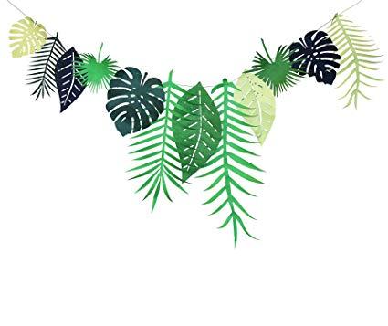 Luau banner clipart banner free download Tropical Leaves Banner Garland Hawaiian Luau Party Jungle Beach Theme  Decoration Birthday Wedding Party Supplies banner free download