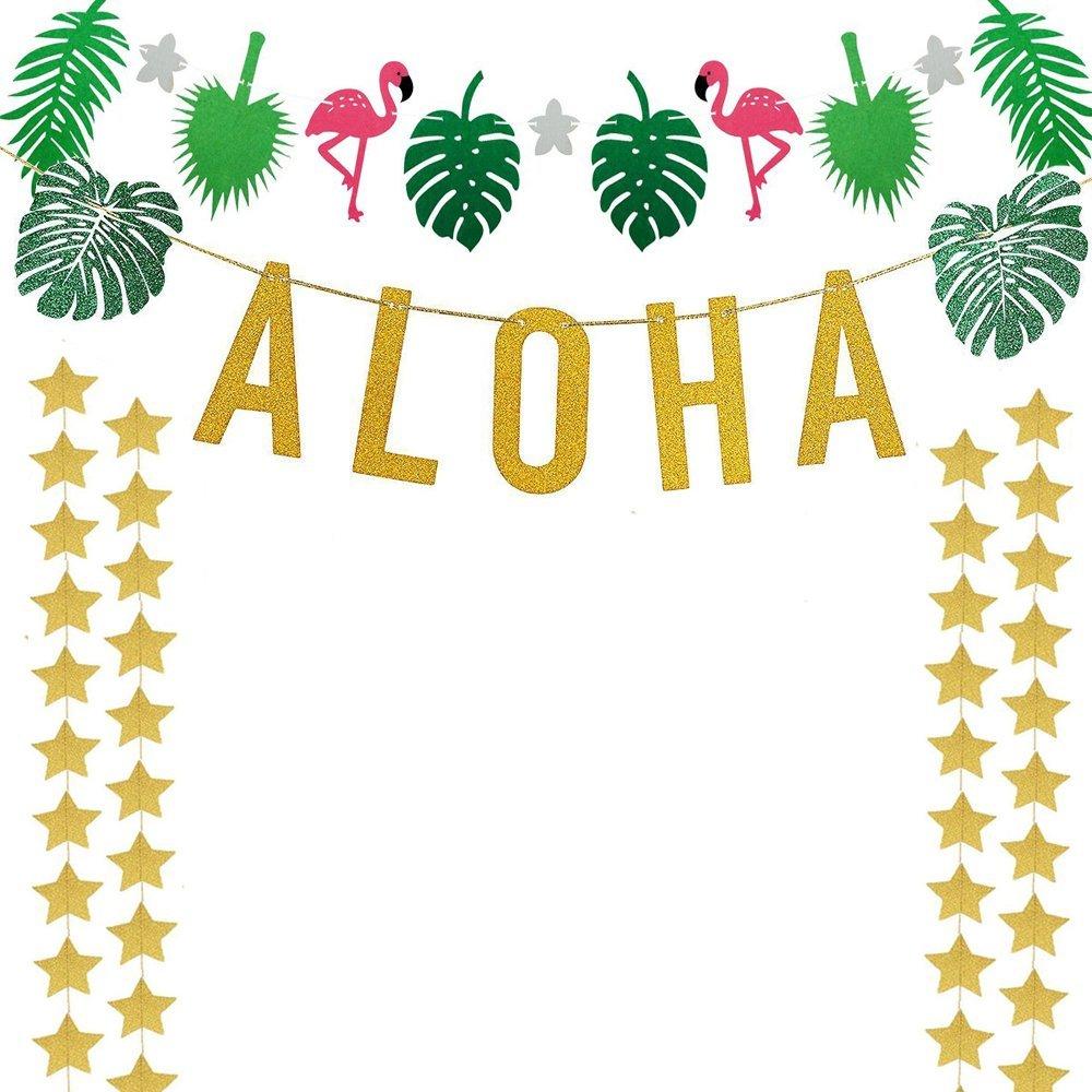 Luau banner clipart freeuse library Gold Glittery Aloha Green Leaves Garland Flamingo Party Banner,For Hawaiian  Tropical Luau Beach Summer Party Deco - Buy Paper Banner,Hawai ... freeuse library