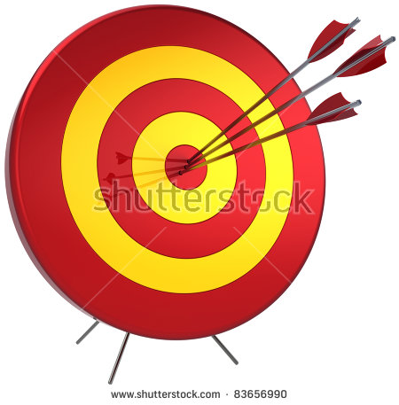 Lucky arrow clipart free stock Success Target Lucky Shooting Concept. Hitting By Three Arrows In ... free stock
