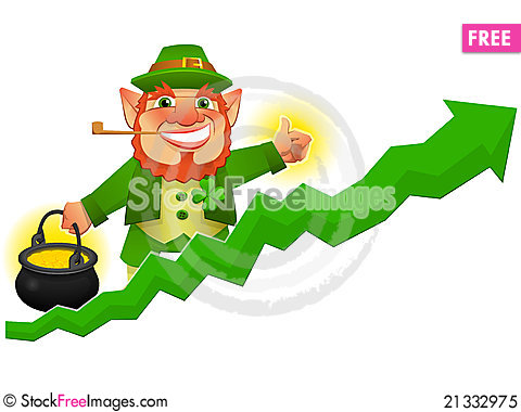 Lucky arrow clipart banner black and white library Lucky Leprechaun With Business Prosperity Arrow - Free Stock ... banner black and white library