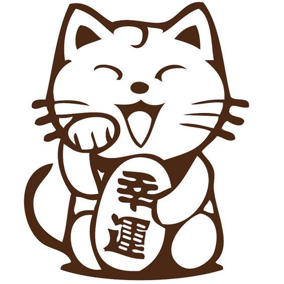 Lucky cat clipart clipart transparent stock Lucky Cat Maneki Neko Japanese Chinese Wall Laptop by Acherryortwo ... clipart transparent stock