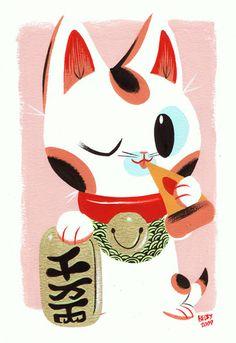 Lucky cat clipart image royalty free library Maneki Neko- the luck-beckoning cat. SO CUTE | Beautiful Home ... image royalty free library