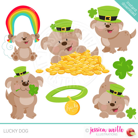 Lucky dog clipart vector black and white download Lucky Dog Cute Digital Clipart Commercial Use OK St. vector black and white download