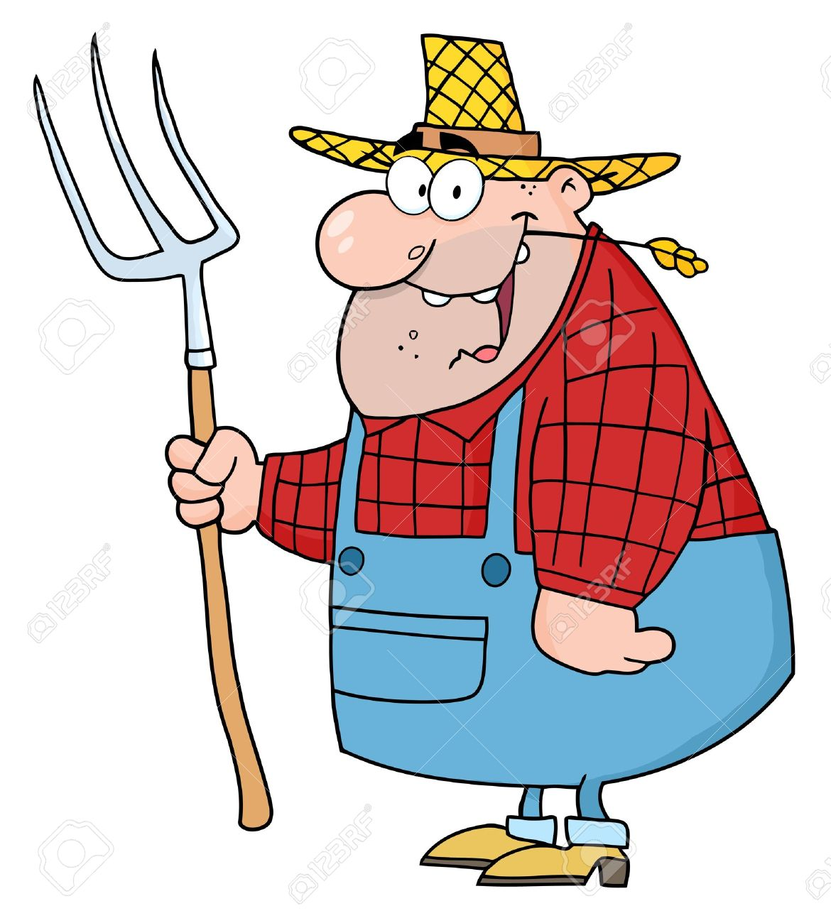 Lucky person clipart svg freeuse download Lucky Farmer Man Carrying A Rake Royalty Free Cliparts, Vectors ... svg freeuse download