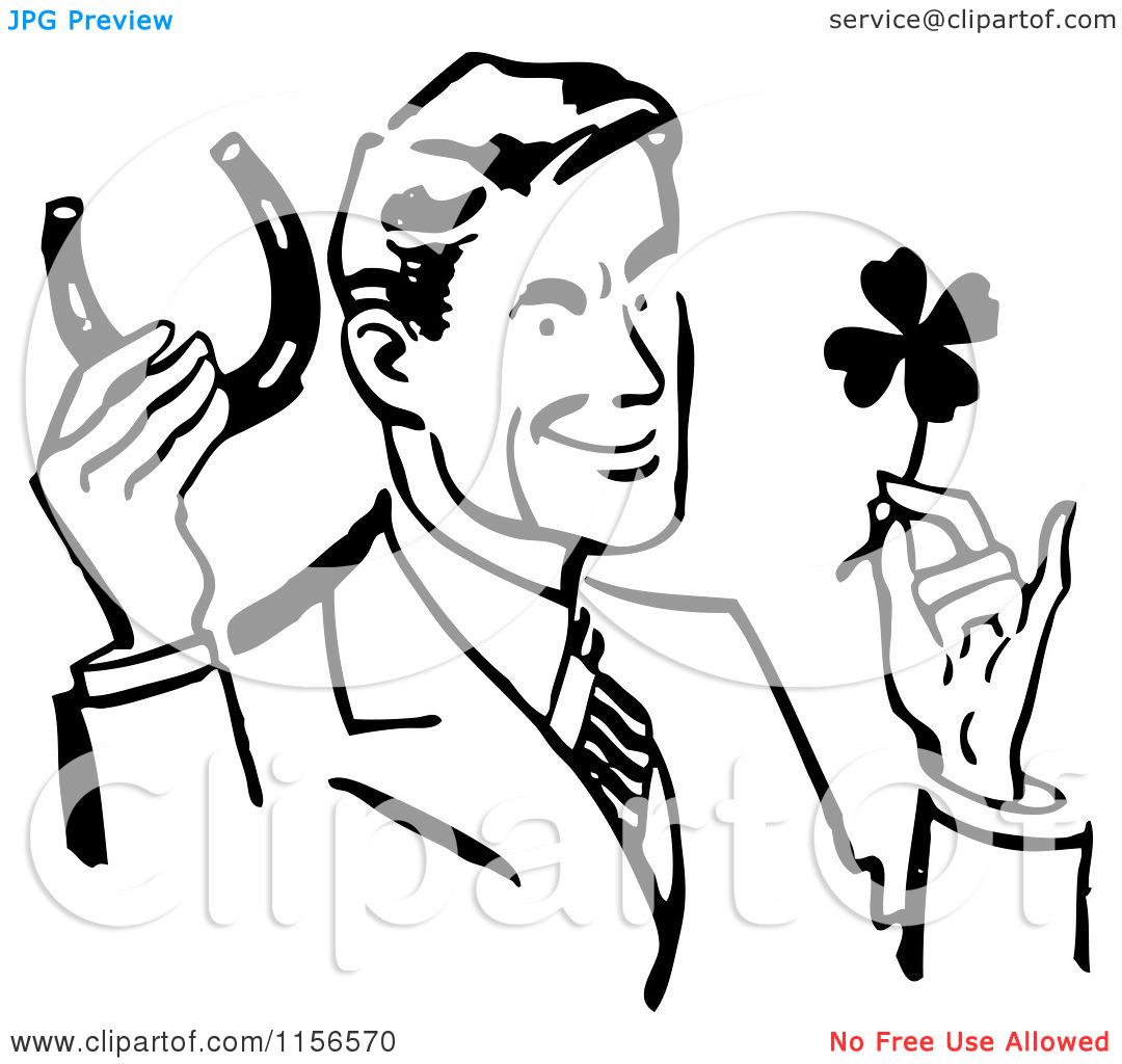Lucky person clipart free Clipart of a Black and White Retro Good Luck Man with a Horseshoe ... free