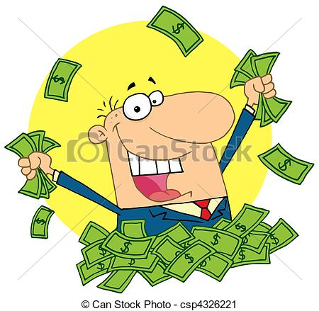 Lucky person clipart graphic black and white stock Vector Clip Art of lucky rich man - Happy Caucasian Man In A Pile ... graphic black and white stock
