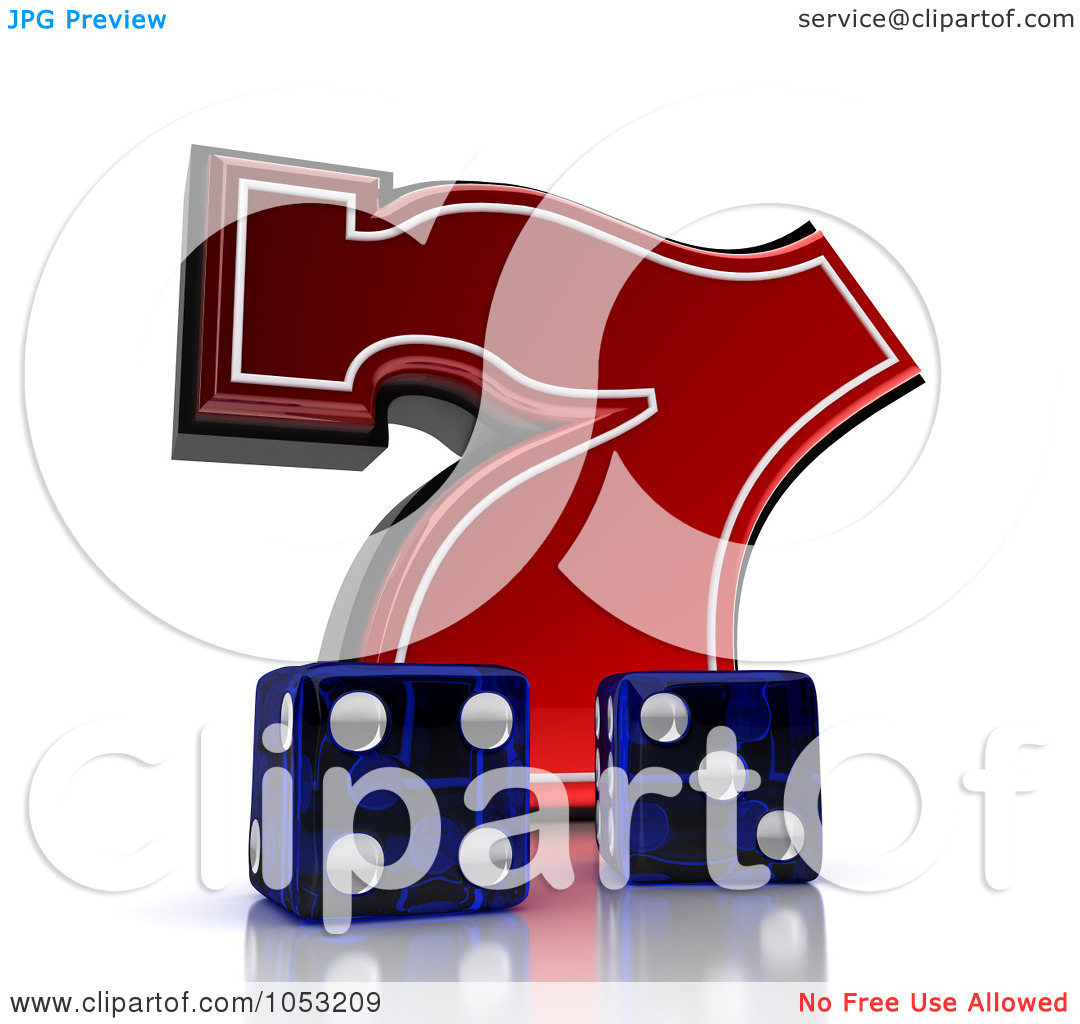 Lucky seven clipart graphic free download Royalty-Free 3d Clipart Illustration of Two 3d Blue Dice And A Red ... graphic free download