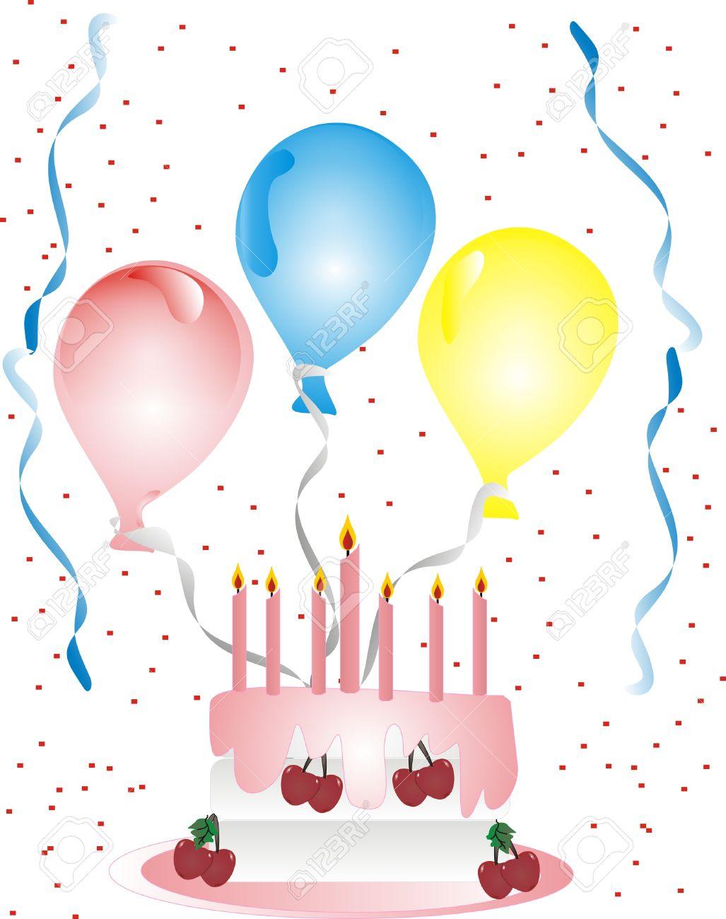 Luftballons und luftschlangen clipart png black and white Geburtstag Mit Luftballons, Luftschlangen, Kuchen Und Konfetti ... png black and white