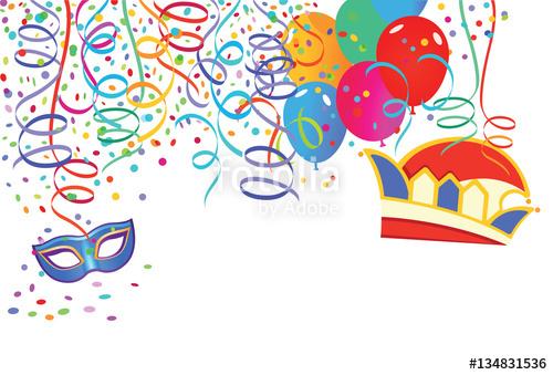 Luftballons und luftschlangen clipart banner freeuse library Karneval Szene mit Luftballons und Luftschlangen