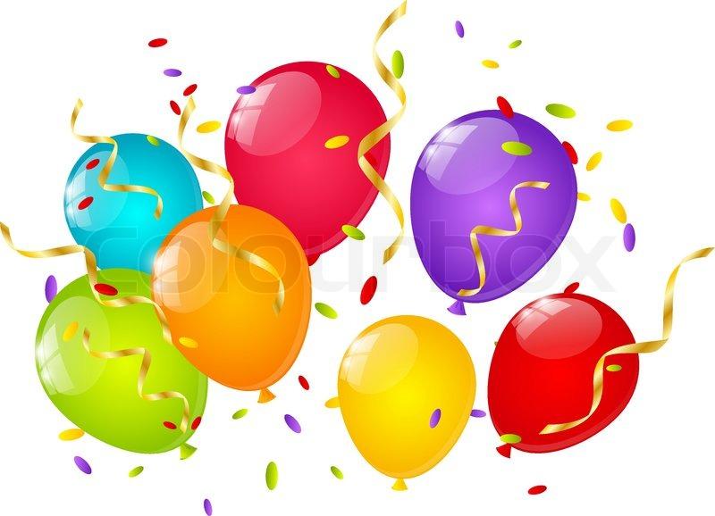 Luftballons und luftschlangen clipart clipart library library Farbe Luftballons mit Bänder und Konfetti | Vektorgrafik | Colourbox clipart library library