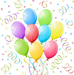 Luftballons und luftschlangen clipart banner library stock Party Hintergrund | Vektorgrafik | Colourbox banner library stock