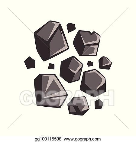Lump of coal clipart banner download Vector Clipart - Flat cartoon lumps of coal. Vector Illustration ... banner download