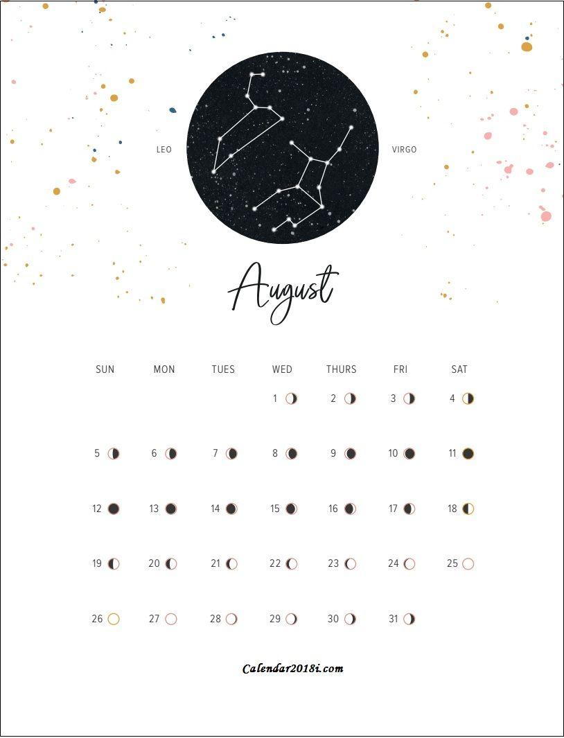 Lunar calendar clipart clip Moon Phases August 2018 Calendar | clipart ❤ | Moon calendar ... clip