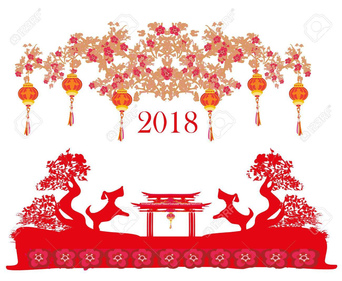 Lunar new year 2018 clipart jpg transparent stock Happy Chinese new year 2018 card, year of the dog » Clipart ... jpg transparent stock