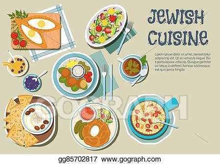 Lunch clipart jewish jpg freeuse download Vector Illustration - Shabbat day dishes of jewish cuisine flat icon ... jpg freeuse download