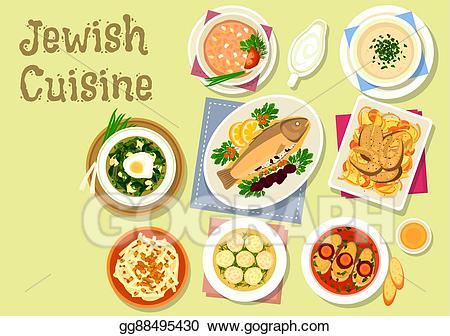 Lunch clipart jewish image royalty free download Vector Stock - Jewish cuisine traditional dishes for dinner icon ... image royalty free download