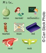 M word clipart image royalty free Many words begin with letter m illustration. image royalty free