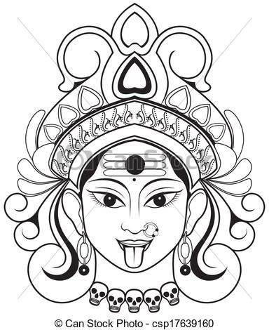 Maa kali face clipart clipart black and white stock durga drawings - Google Search | divya | Indian goddess kali, Kali ... clipart black and white stock