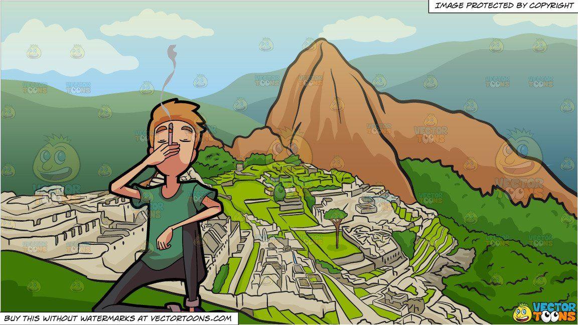 Machu picchu clipart svg royalty free download clipart #cartoon A Man Enjoying A Smoke and Machu Picchu ... svg royalty free download