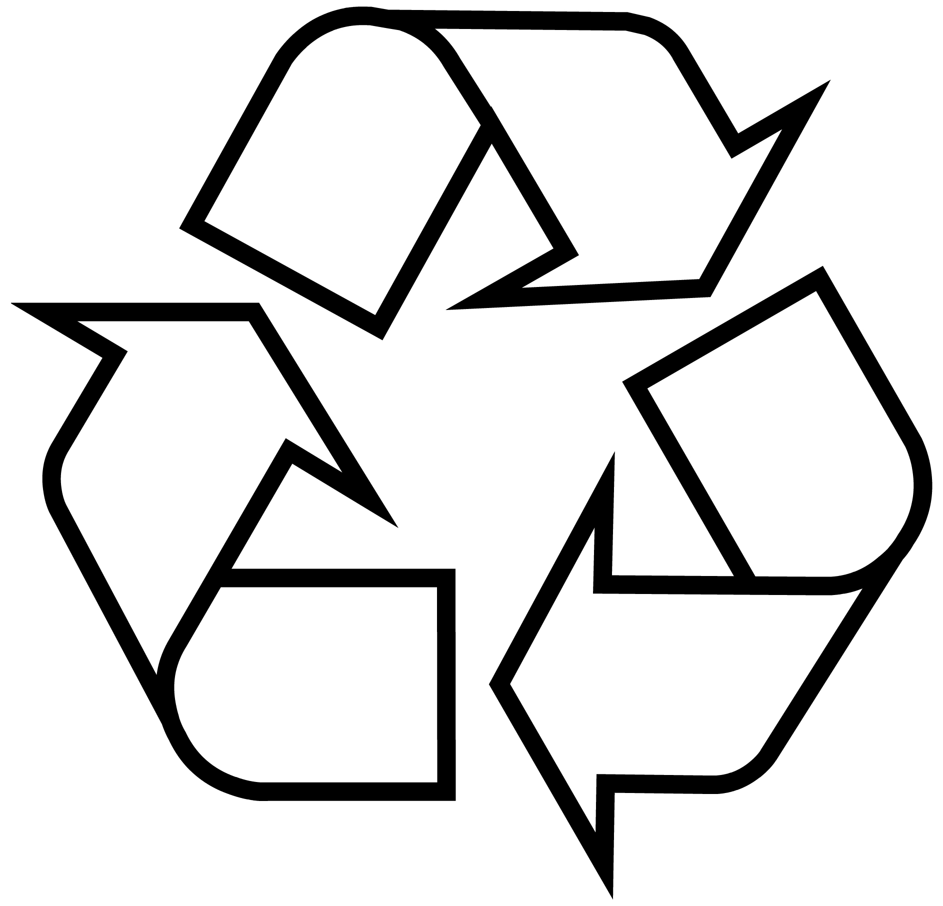 Made with recycled materials clipart black and white black and white Recycling Symbol - Download the Original Recycle Logo black and white