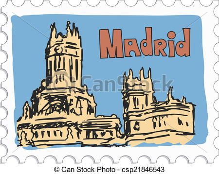 Madrid clipart clip transparent download EPS Vector of Madrid, capital of Spain - stamp with doodle view of ... clip transparent download