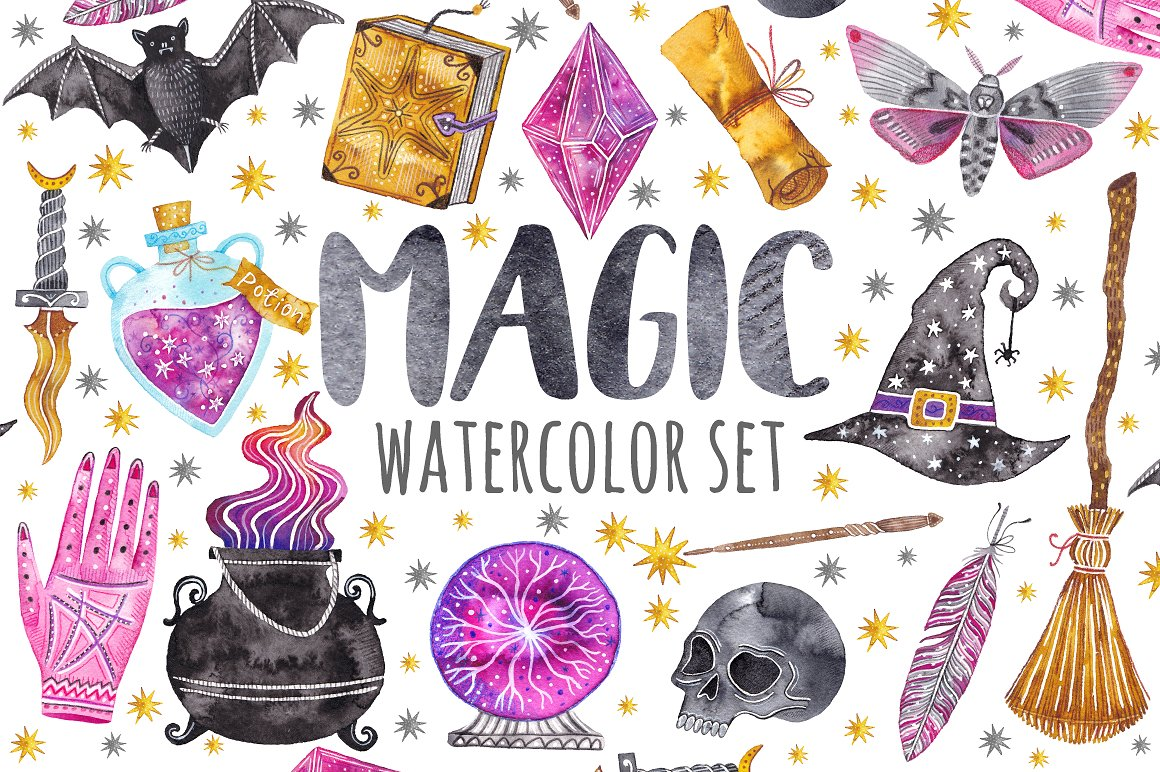 Magic set clipart jpg library Watercolor magic set. Witchcraft in Illustrations on Yellow ... jpg library