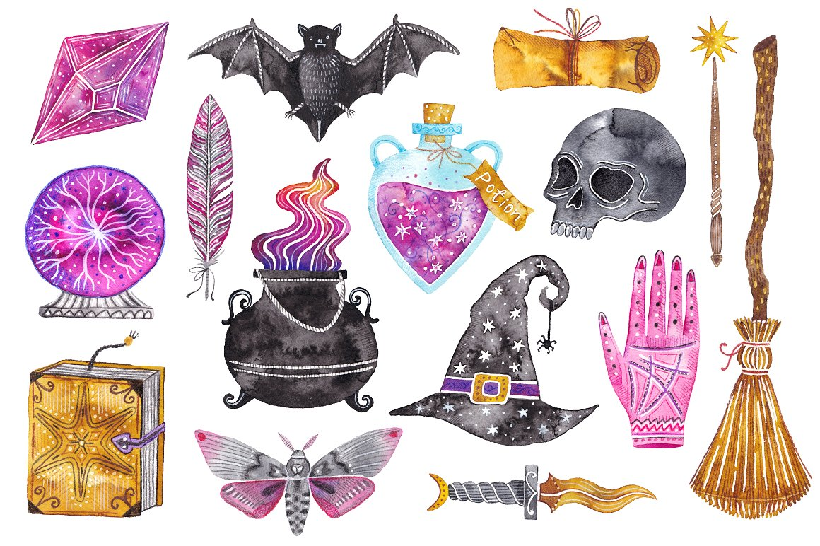 Magic set clipart picture royalty free download Watercolor magic set. Witchcraft in Illustrations on Yellow ... picture royalty free download